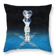 Earth Heart Holder Throw Pillow