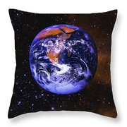 Earth In Space With Gaseous Nebula And Throw Pillow
