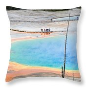 Earth Rainbow - Overhead View Of Grand Prismatic Spring In Yellowstone National Park.  Throw Pillow