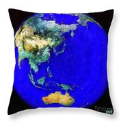 Earth Seen From Space Australia And Azia Throw Pillow
