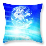 Earth Technology Background Throw Pillow by Michal Bednarek