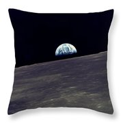 Earthrise Over The Moon Throw Pillow