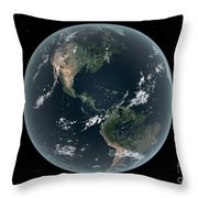 Earths Western Hemisphere With Rise Throw Pillow