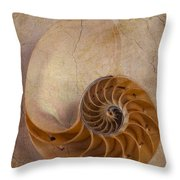 Earthy Nautilus Shell  Throw Pillow