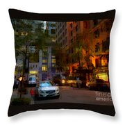 East 44th Street - Rhapsody In Blue And Orange - Close View Throw Pillow