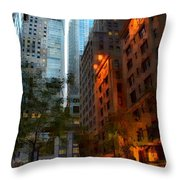 East 44th Street - Rhapsody In Blue And Orange Throw Pillow