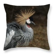 East African Crowned Crane Painterly Throw Pillow