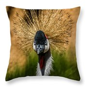 East African Crowned Crane Square Format Throw Pillow