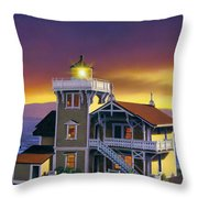 East Brother Lighthouse Throw Pillow