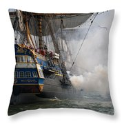 East Indiaman Cannon Gun Salute Throw Pillow