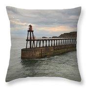East Pier Whitby Throw Pillow