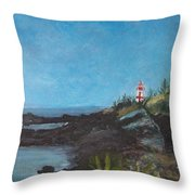East Quoddy Head Lighthouse Throw Pillow