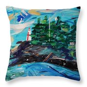 Campobello Lighthouse Abstract Throw Pillow