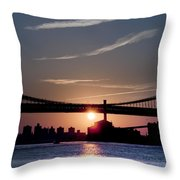 East River Sunrise - New York City Throw Pillow
