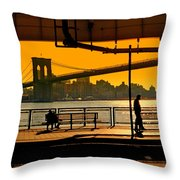 East River Sunset Throw Pillow