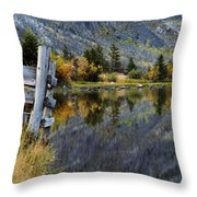 East Rosebud Lake Fall Panorama Throw Pillow by Roger Snyder