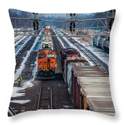 Eastbound And Westbound Trains Throw Pillow