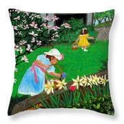 Easter At Grandma's Throw Pillow by Edward Fuller