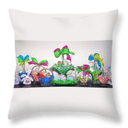 Easter Baskets In A Row  Throw Pillow