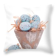 Easter Egg On Straw Throw Pillow