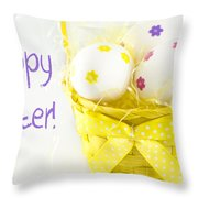 Easter Eggs In Basket Throw Pillow