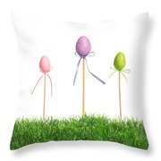 Easter Eggs In Grass Throw Pillow