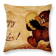 Easter Golden Egg Coffee Painting Throw Pillow