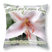 Easter Greeting Card - White Lily With Quote Throw Pillow