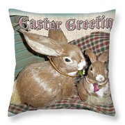 Easter Greetings - Bunnies Throw Pillow