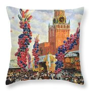 Easter Market At The Moscow Kremlin Throw Pillow