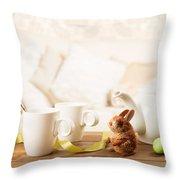 Easter Tea Break Throw Pillow