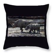 Eastern Black Rhinos Mama N Baby Throw Pillow