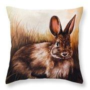 Eastern Cottontail Rabbit Throw Pillow