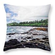 Eastern Shore Of Maui Throw Pillow