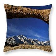 Eastern Sierra Nevada Mountains Lathe Arch Throw Pillow