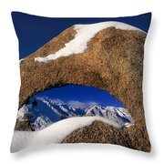 Eastern Sierras Through Snow Covered Arch Throw Pillow