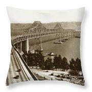 Eastern Span Of San Francisco-  Oakland Bay Bridge Circa 1937 Throw Pillow