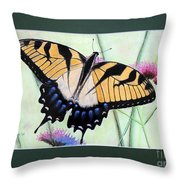 Eastern Tiger Swallowtail Butterfly By George Wood Throw Pillow