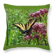 Eastern Tiger Swallowtail On Joe Pye Weed Throw Pillow