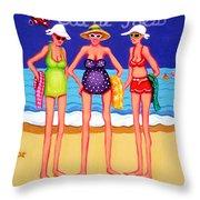 Eat At Joes - Beach Gossip Throw Pillow