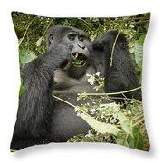 Eating Mountain Gorilla Throw Pillow