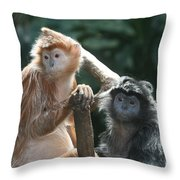 Ebony Langurs Throw Pillow