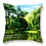 Ecclesiastes 3 11 He Hath Made Everything Beautiful Throw Pillow by Susan Savad
