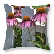 Echinacea And A White Picket Fence Throw Pillow