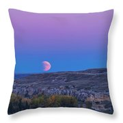 Eclipse Moonrise At Writing-on-stone Throw Pillow