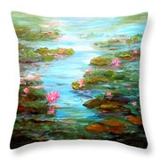 Edge Of The Lily Pond Throw Pillow by Barbara Pirkle