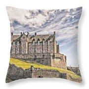 Edinburgh Castle Painting Throw Pillow