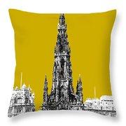 Edinburgh Skyline Scott Monument - Gold Throw Pillow