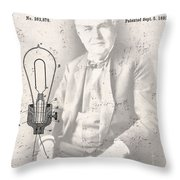 Edison And Electric Lamp Patent Throw Pillow