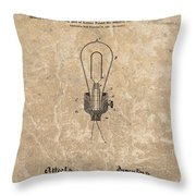 Edison Electric Lamp Patent Marble Throw Pillow